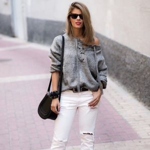HOST PICK Zara Knit Gray Lace Up Sweater with Wool